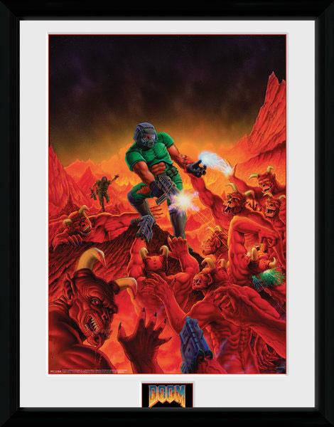 Poster com Moldura Premium Doom Classic  Key Art 45 x 34 cm