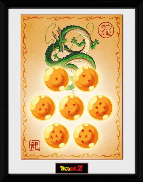 Poster com Moldura Premium Dragonball Z Dragon Balls 45 x 34 cm