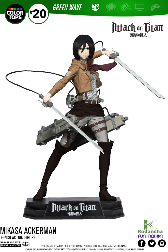Attack on Titan Color Tops Action Figure Mikasa Ackerman 18 cm