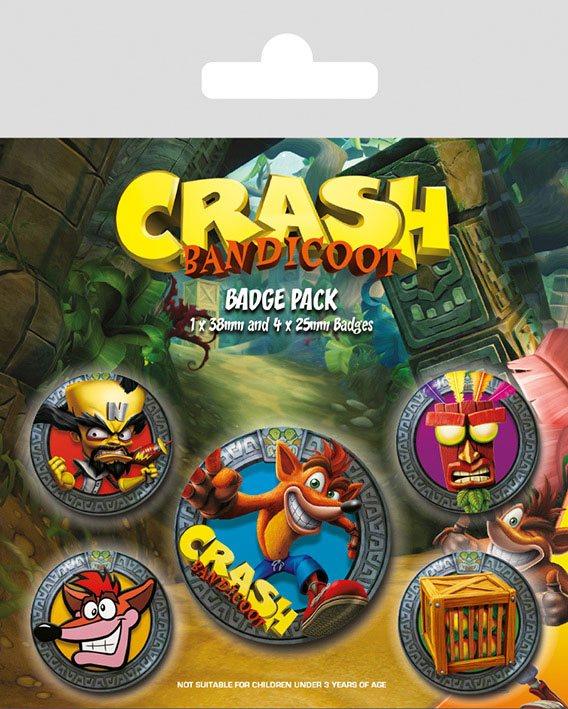 Conjunto de 5 Pins Crash Bandicoot Pin Badges 5-Pack Pop Out
