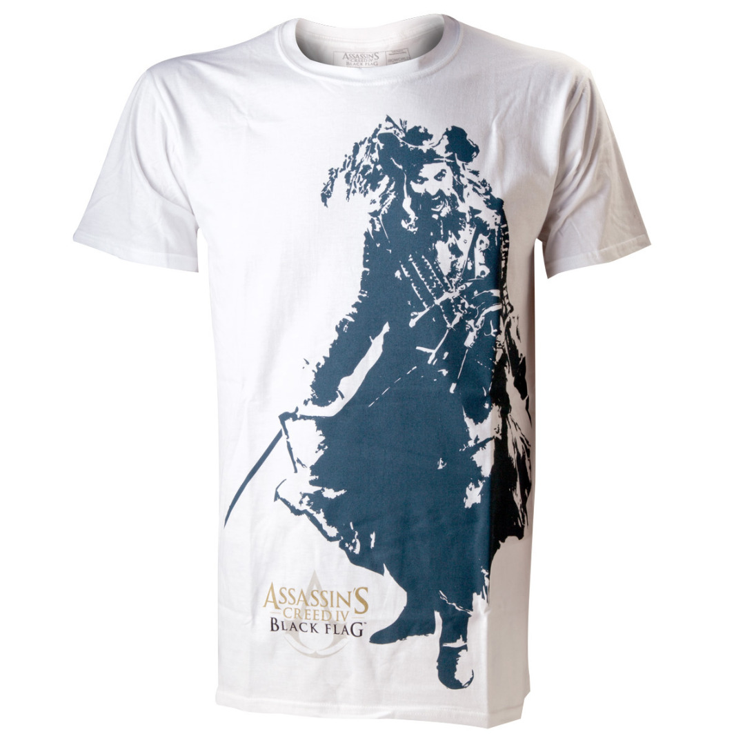 T-Shirt Assassin's Creed IV Branca Black Beard Tamanho L