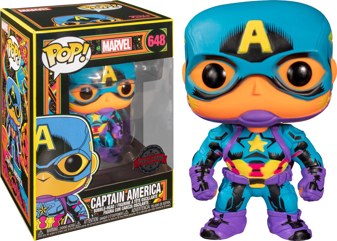 Marvel POP! Marvel Black Light Vinyl Figure Captain America 10 cm
