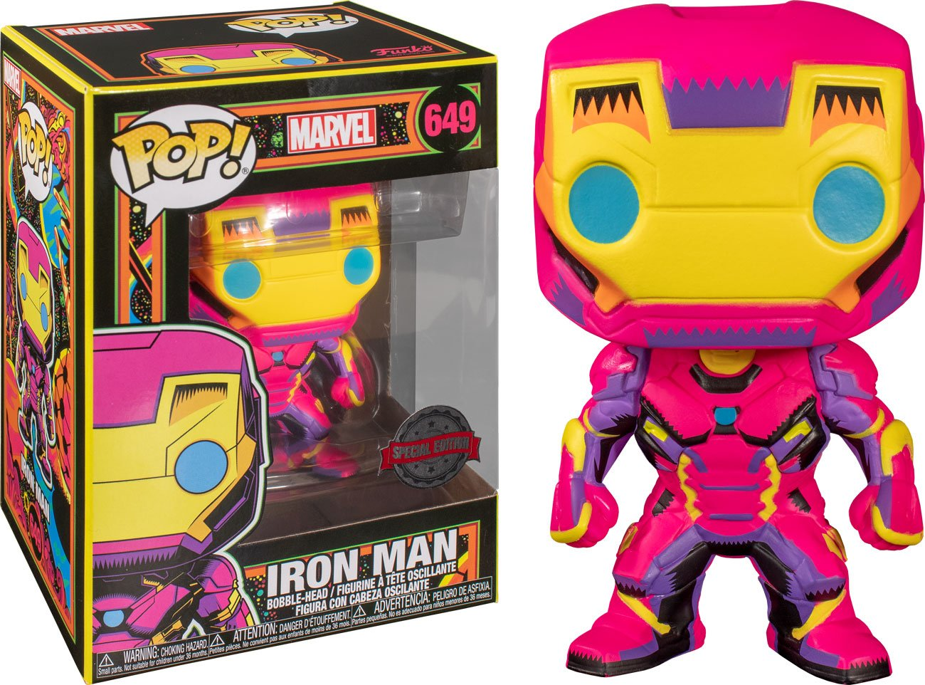 Marvel POP! Marvel Black Light Vinyl Figure Iron Man 10 cm