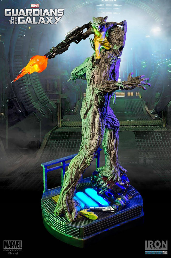 Estátua Guardians of the Galaxy 1/6 Rocket & Groot Prison Ver. 59 cm