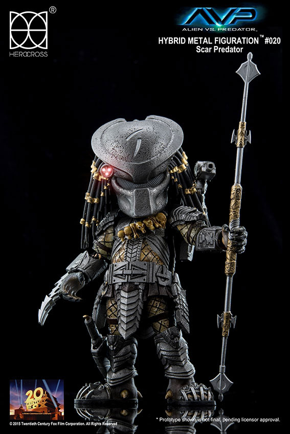 Alien vs Predator Hybrid Metal Action Figure Scar Predator 14 cm