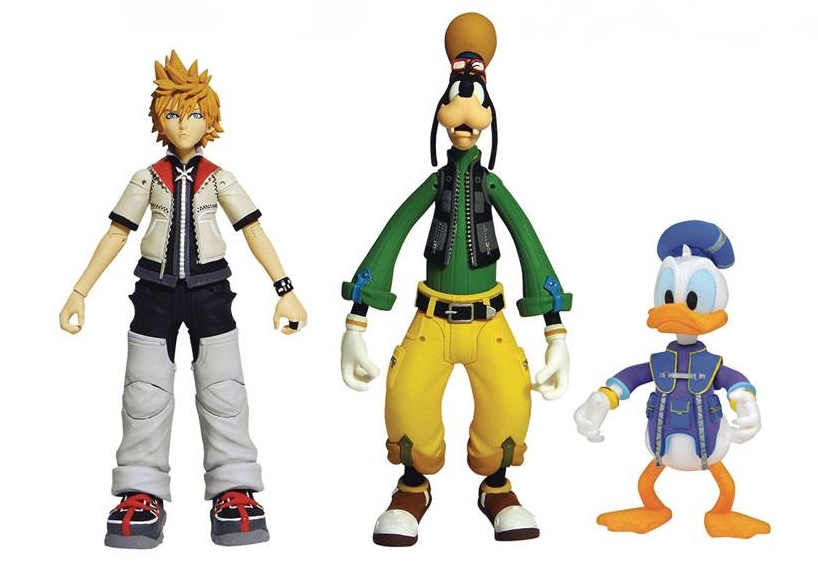 Kingdom Hearts Select Action Figures Roxas, Donald Duck, Goofy 18 cm