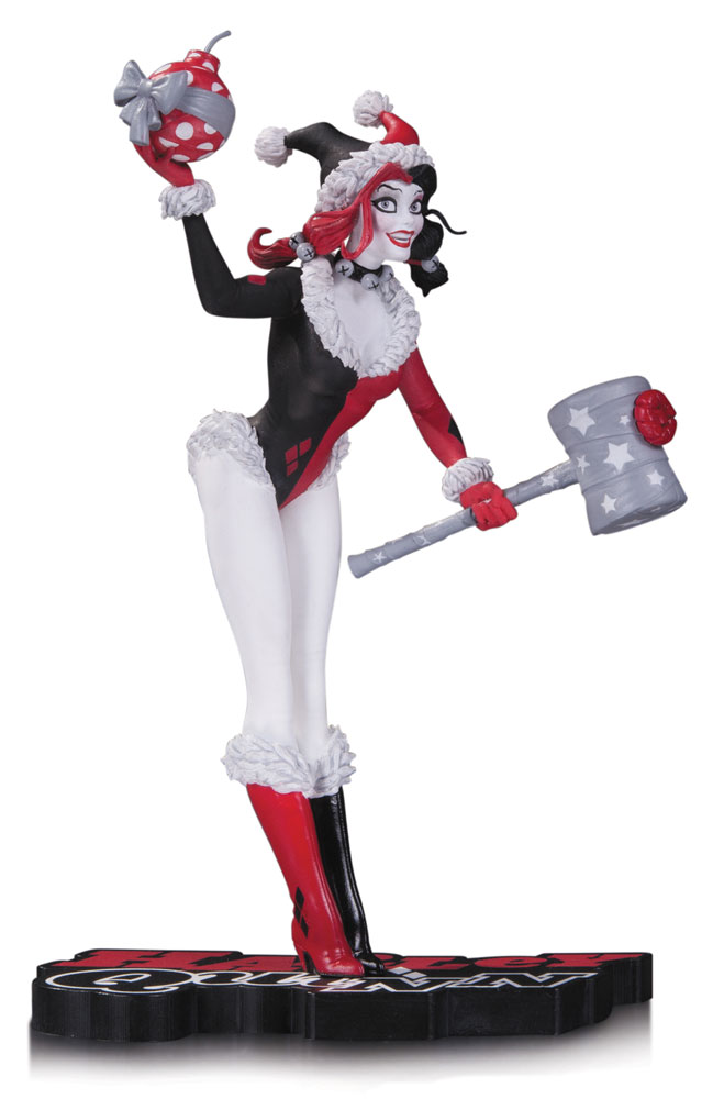 DC Comics Red, White & Black Statue Holiday Harley Quinn 18 cm