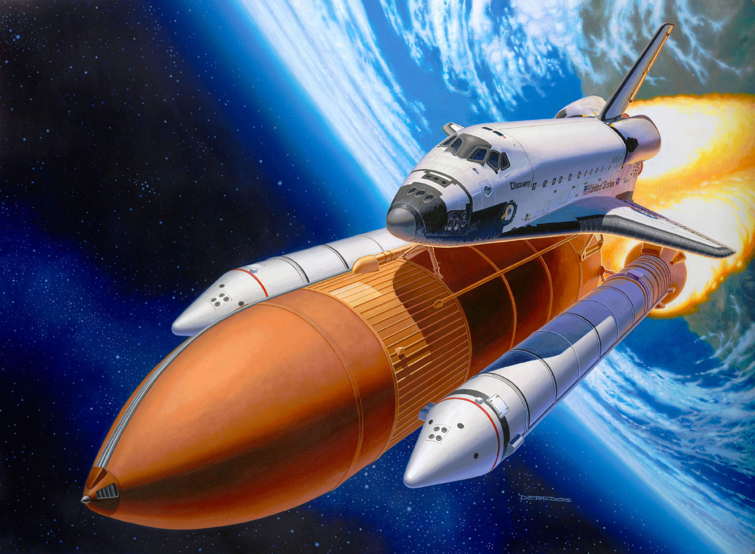 Revell Model Kit Space Shuttle Discovery + Booster Rockets Scale 1:144
