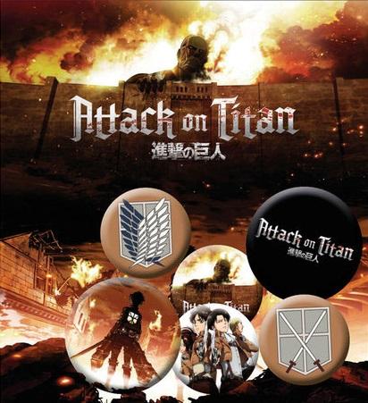 Conjunto de 6 Pins Attack on Titan