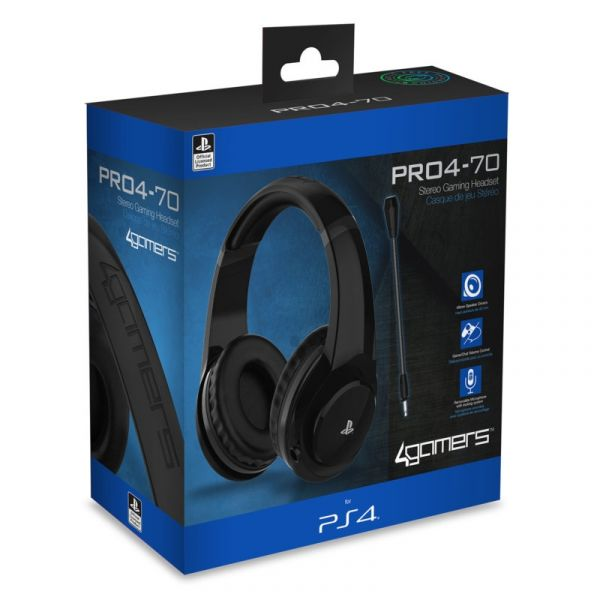 Auscultadores Gaming 4Gamers Stereo PRO4-70 Preto PS4