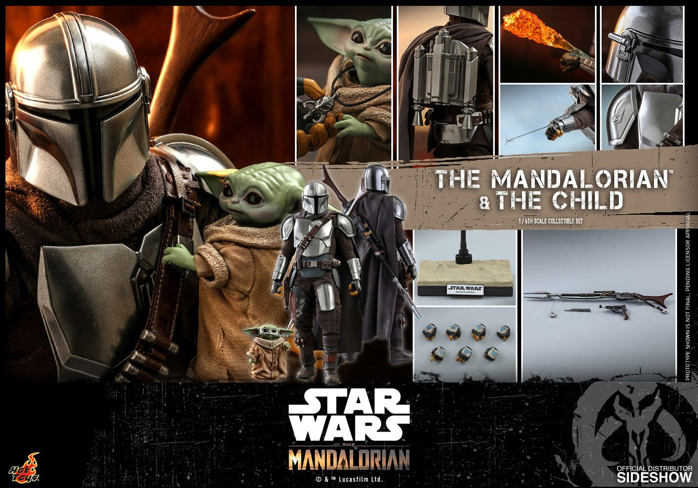 Star Wars: The Mandalorian and The Child 1:6 Scale Figure Set