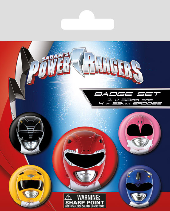 Conjunto de 5 Pins Power Rangers Helmets