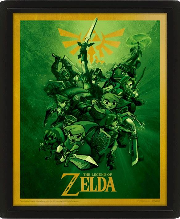 Moldura Premium com Efeito 3D The Legend of Zelda  26 x 20 cm