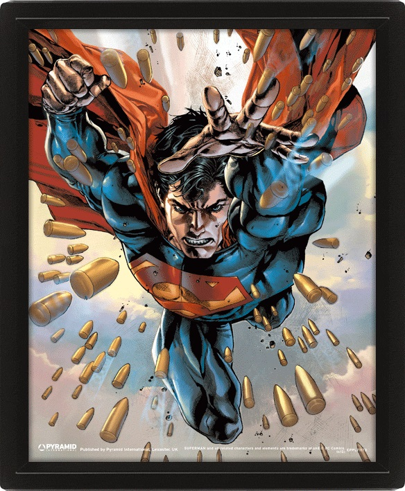 Moldura Premium com Efeito 3D DC Comics Superman 26 x 20 cm