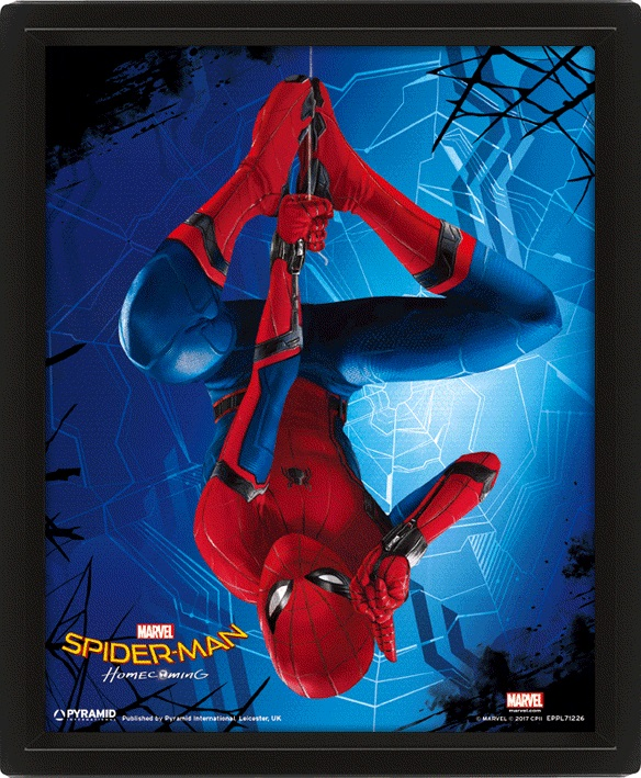 Moldura Premium com Efeito 3D Marvel Spiderman Homecoming 26 x 20 cm