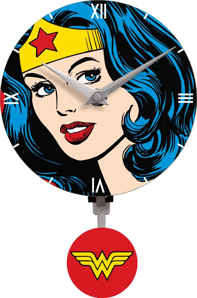 Wonder Woman 3D Mini Motion Wall Clock Swinging Logo