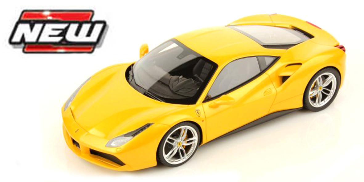Ferrari 488 GTB Race&Play Scale 1:64 (Yellow/Amarelo)